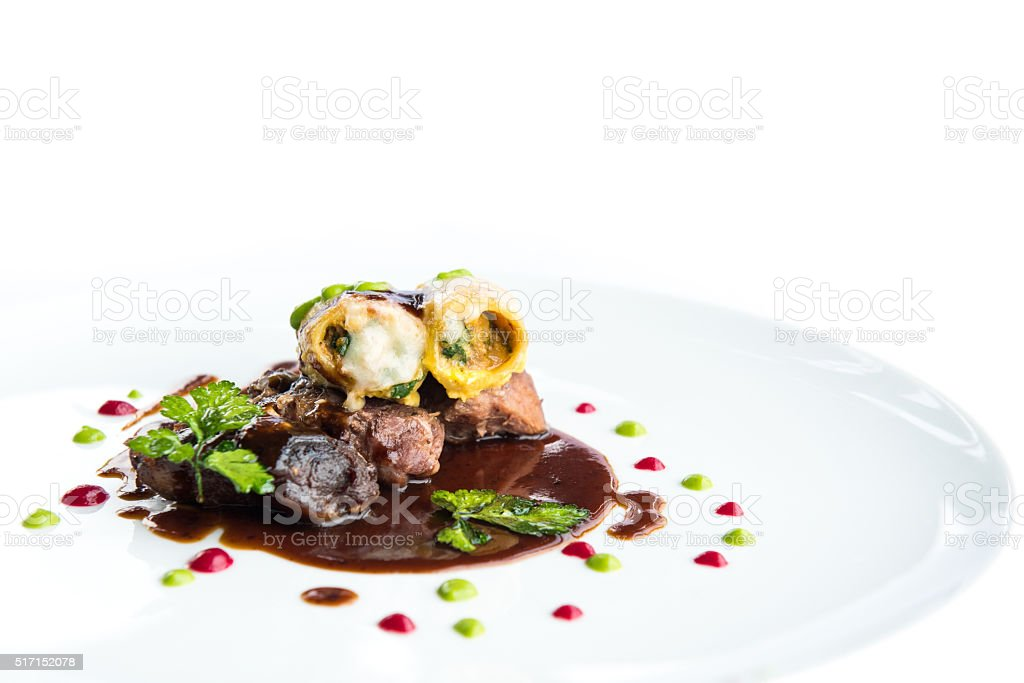 Steak and Prawn stock photo