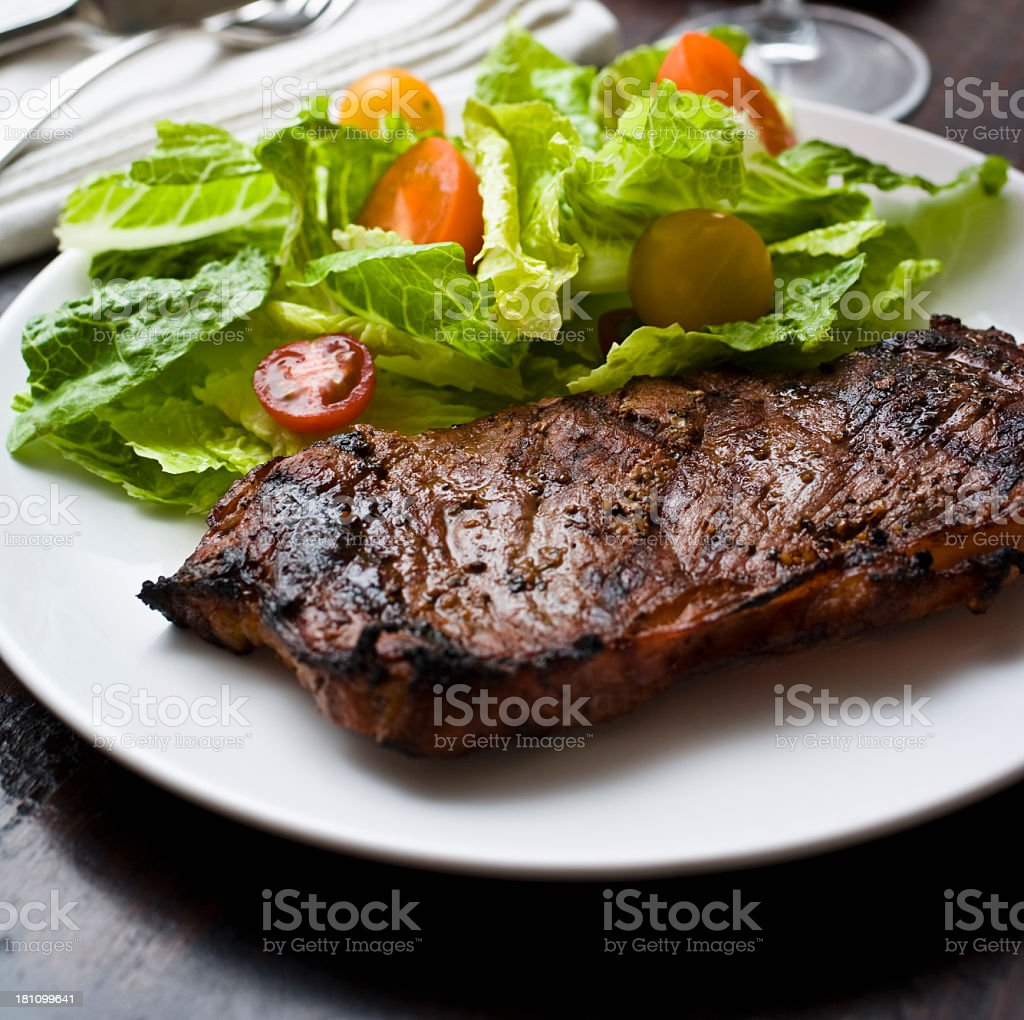 Steak and Salad royalty-free stock photo