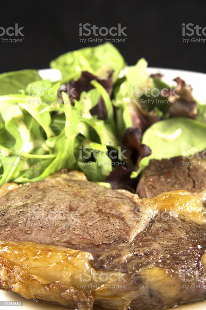 Steak and salad stock photo