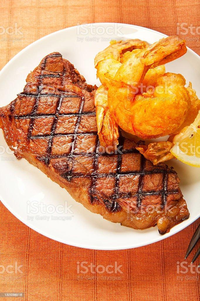 Steak and Shrimp royalty-free stock photo