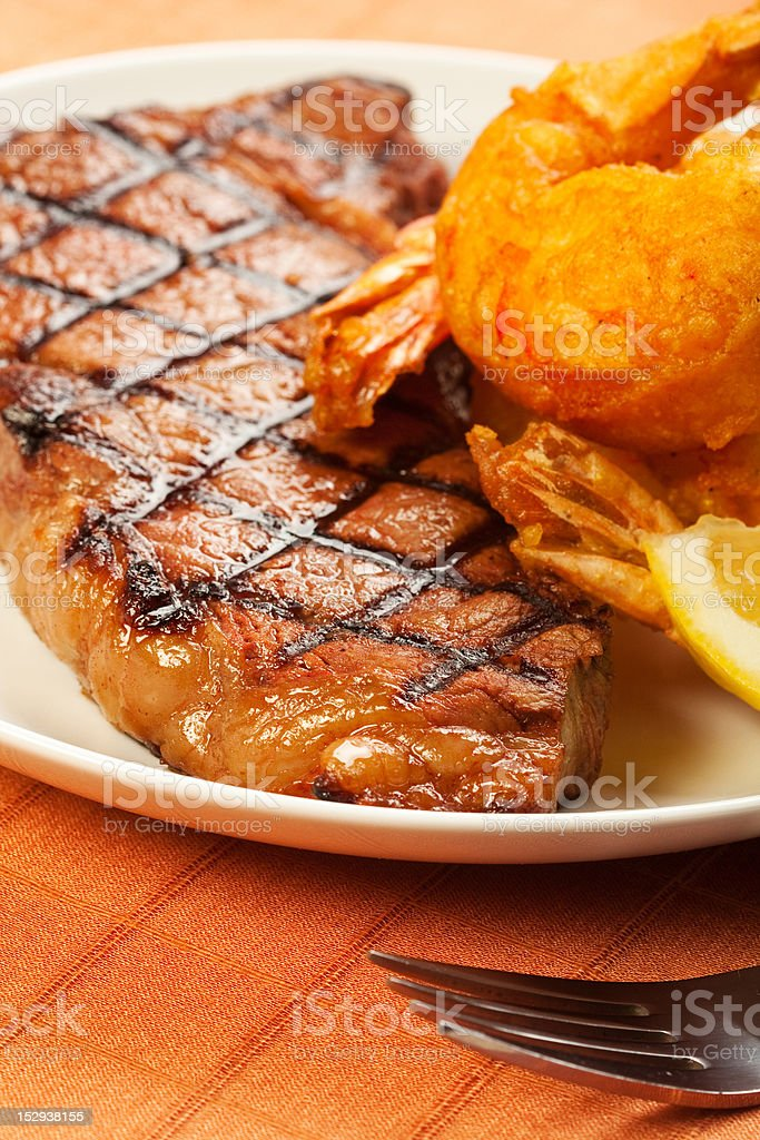 Steak and Shrimp royalty-free stock photo