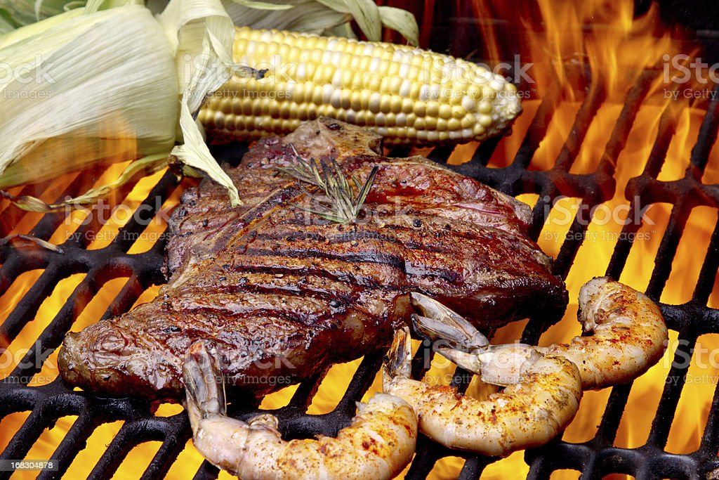 Steak and Shrimp with Corn on the Cob stock photo
