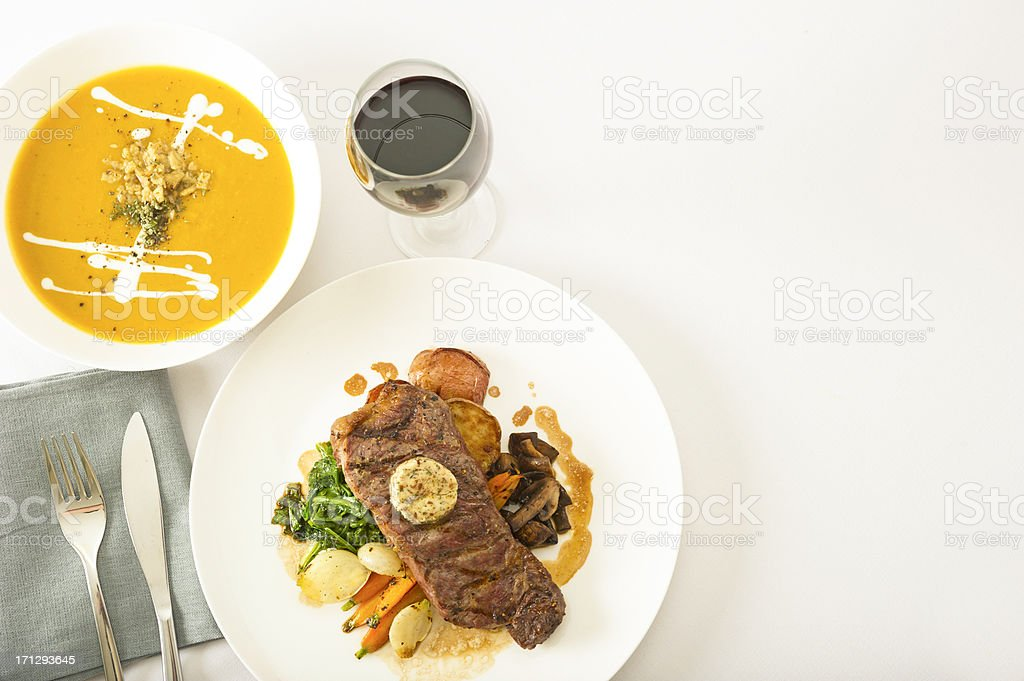 Steak and Soup royalty-free stock photo