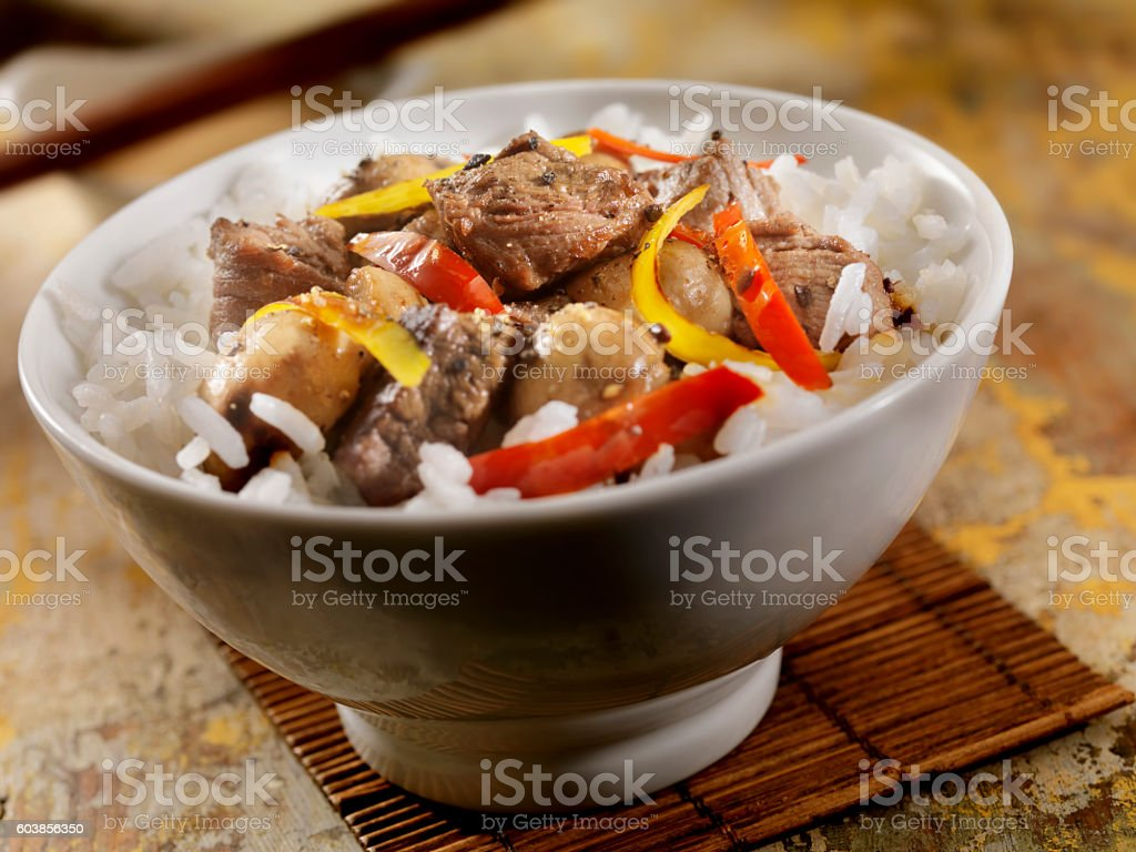 Steak And Vegetable Stir Fry with Rice stock photo