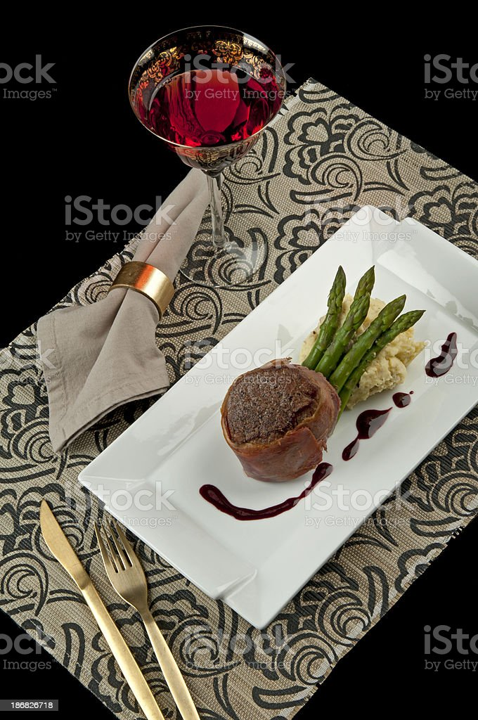 Steak, asparagus with mashed potatoes and red wine royalty-free stock photo