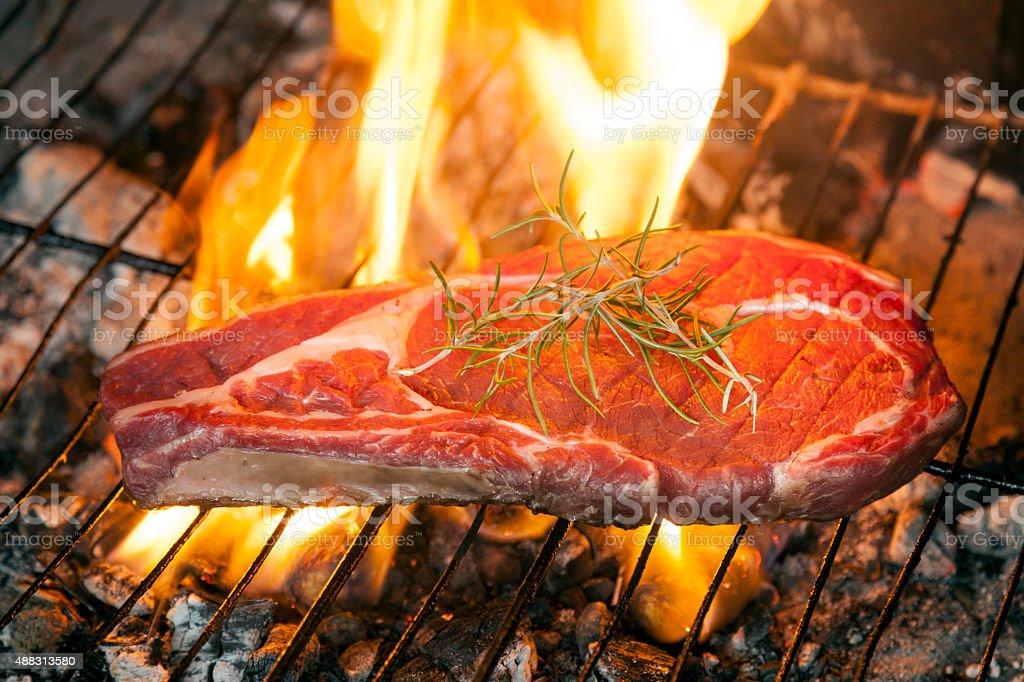 Steak barbacue with rosemary stock photo