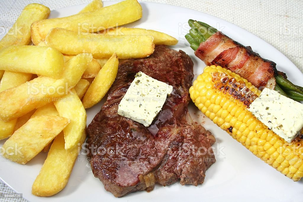 Steak Beans and Fries stock photo