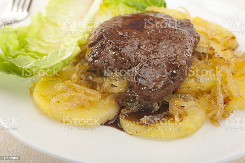 Steak Beef Eye Fillet Potatoes Onions Fried Plate Plated royalty-free stock photo