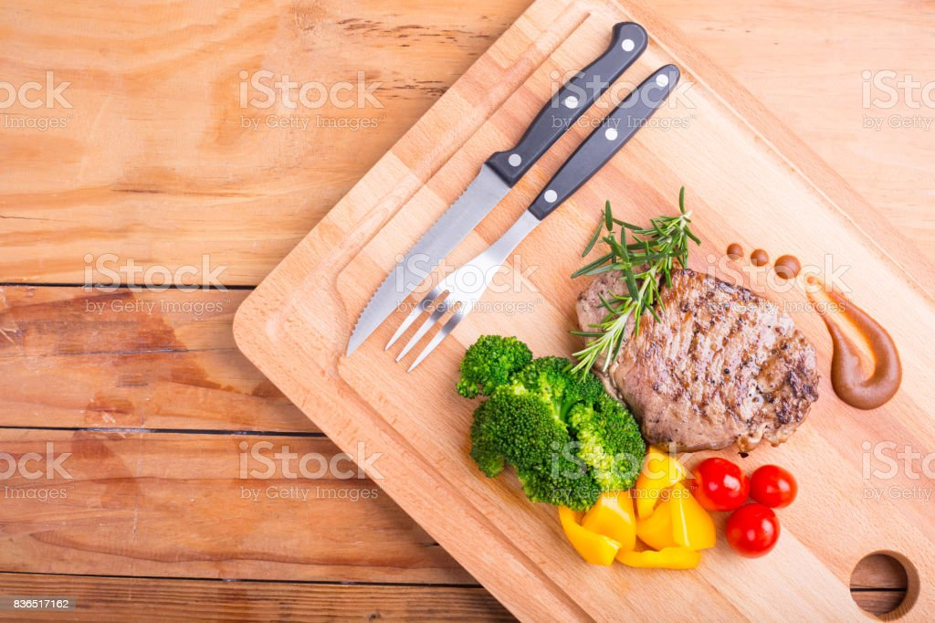 Steak beef with vegetable for serve stock photo