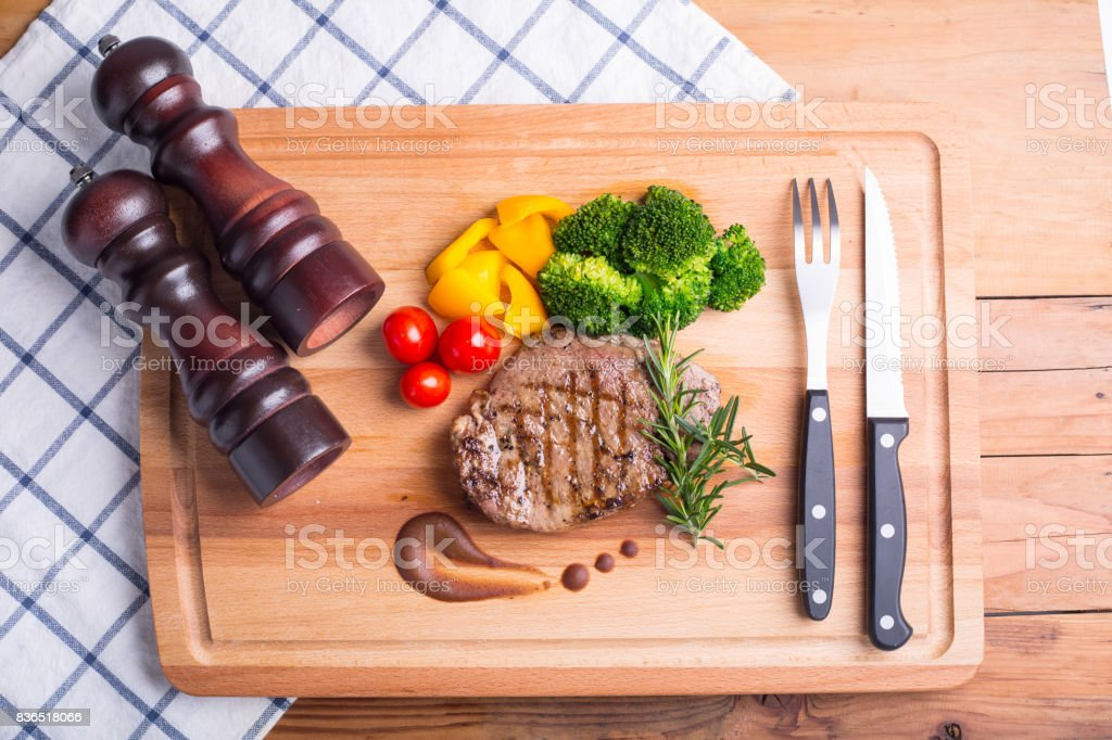 Steak beef with vegetable stock photo