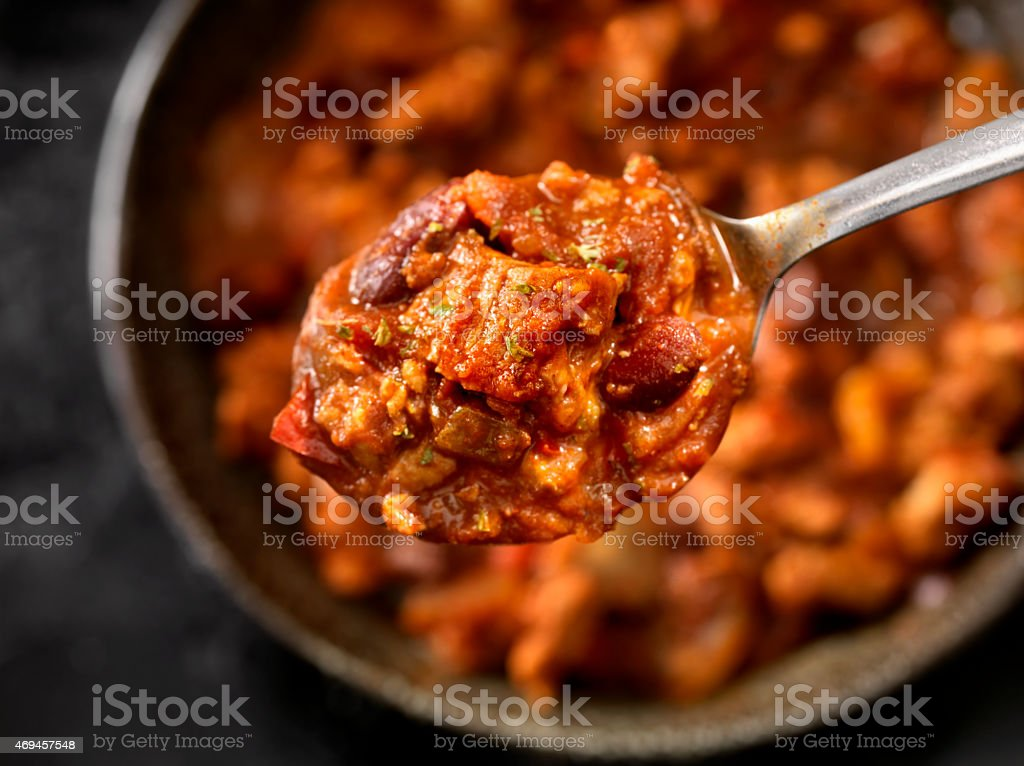 Steak Chili with Red Kidney Beans stock photo