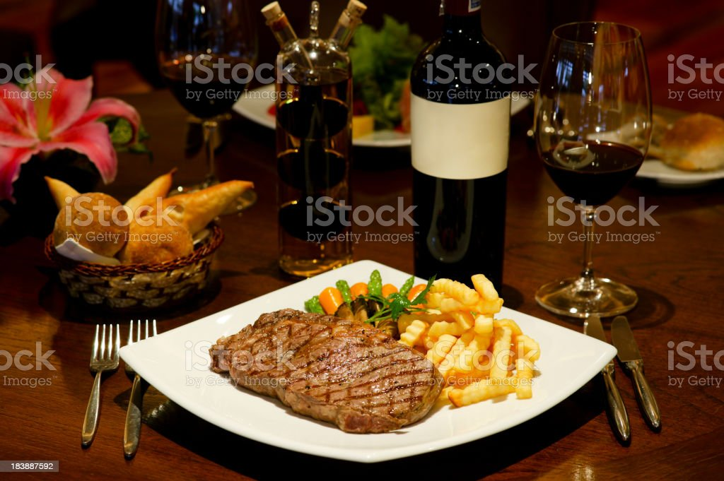steak chips french fries stock photo