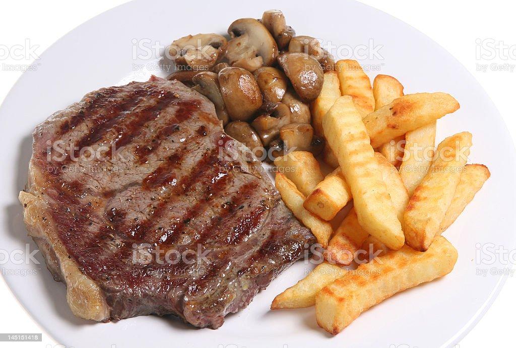 Steak & Chips royalty-free stock photo