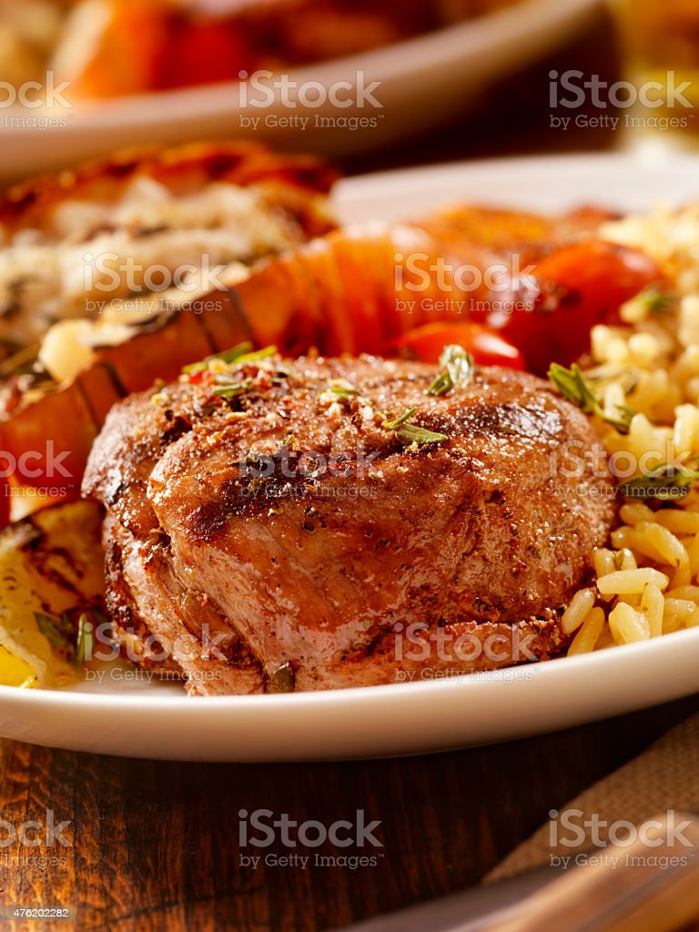 BBQ Steak Fillet and Grilled Lobster Tail stock photo