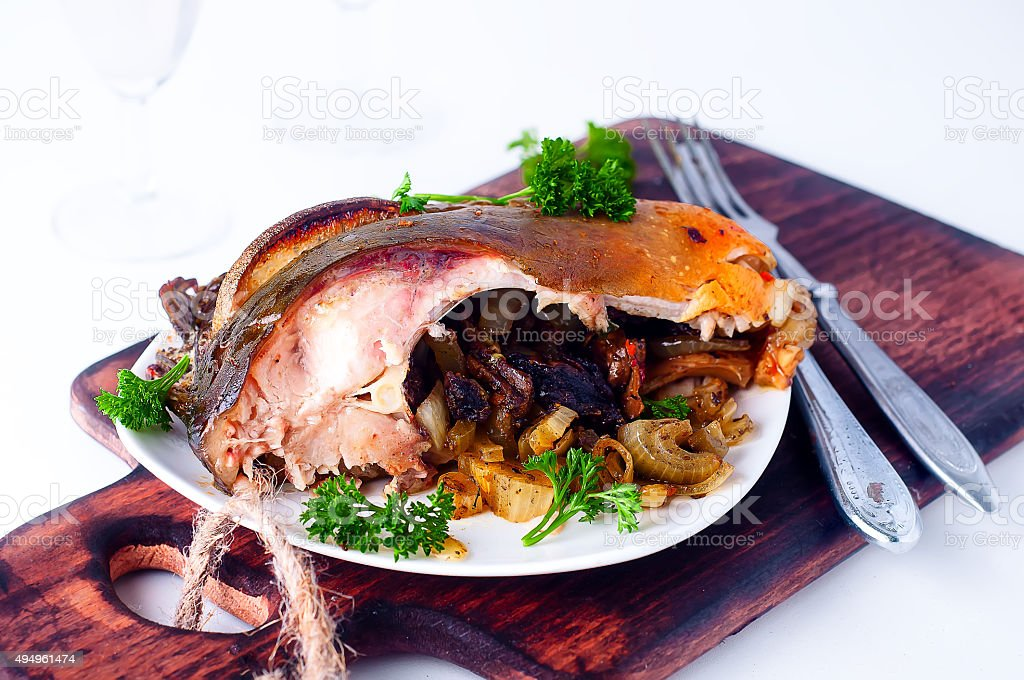 Steak fish baked with mushrooms stock photo