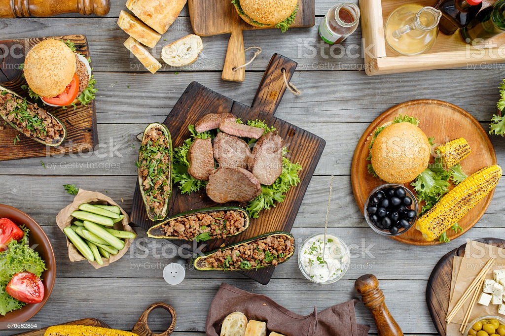 Steak grilled with different food stock photo