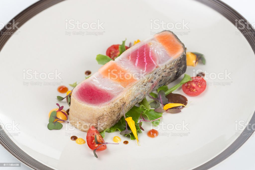 Steak layer fish stock photo