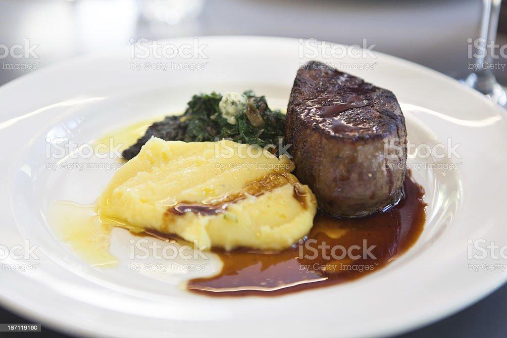 Steak Mash Potatoe and Greens stock photo