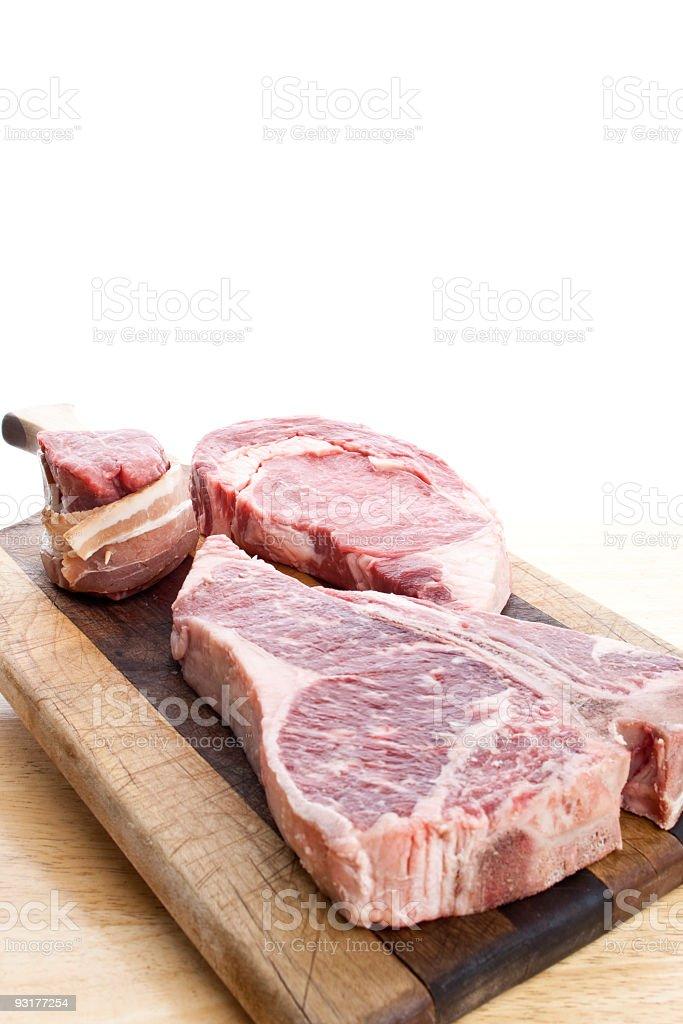 Steak on a cutting board stock photo