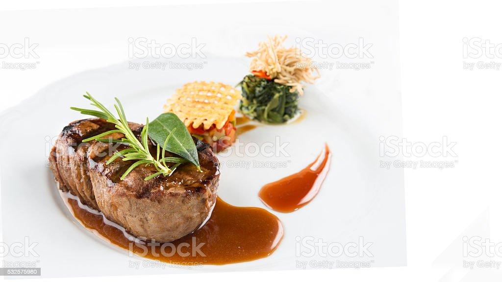 Steak on a white background stock photo