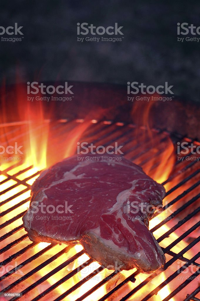 steak on the grill royalty-free stock photo