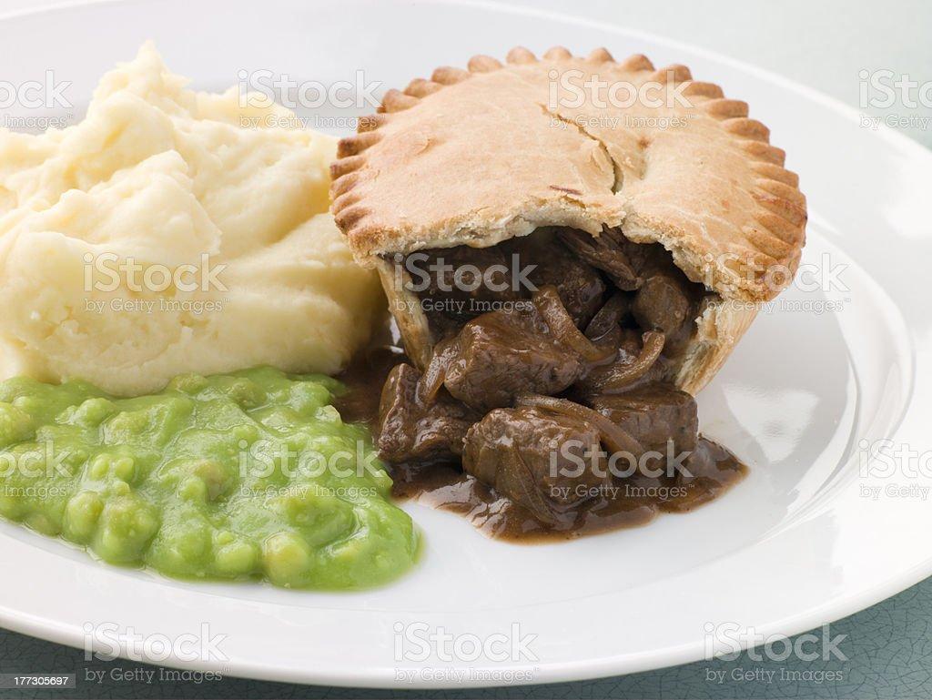 Steak Pie Mash and Mushy Peas stock photo