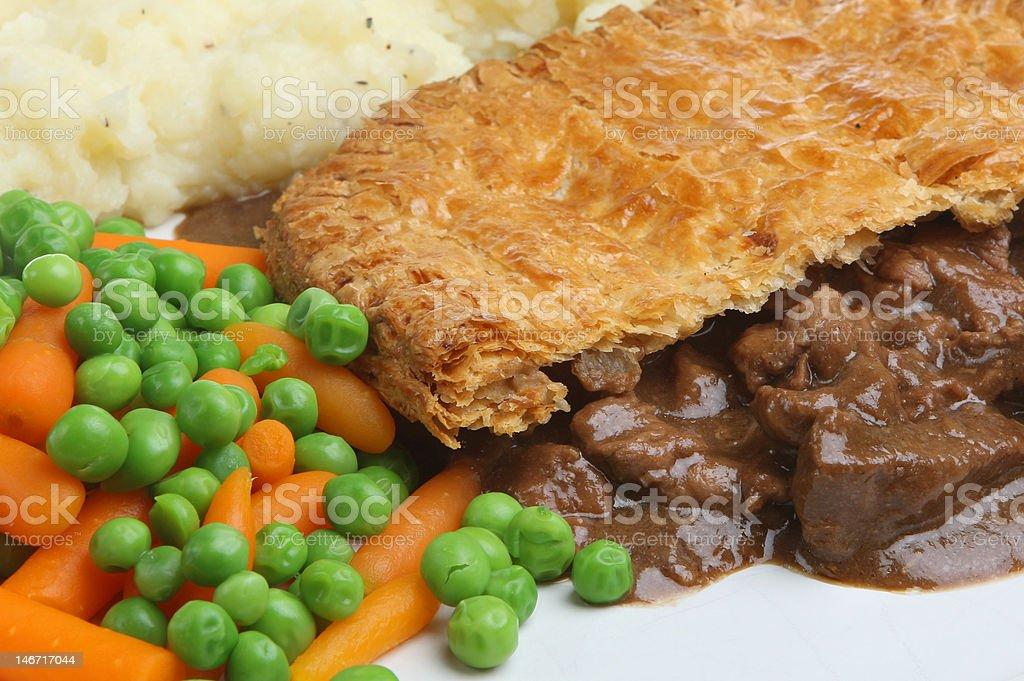 Steak Pie, Mash & Vegetables stock photo