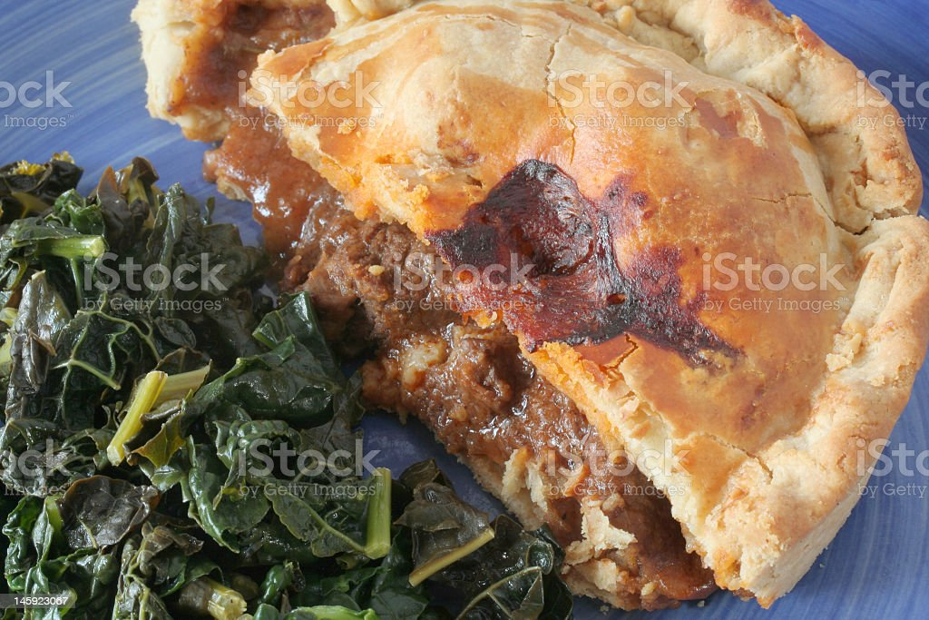 steak pie with kale stock photo