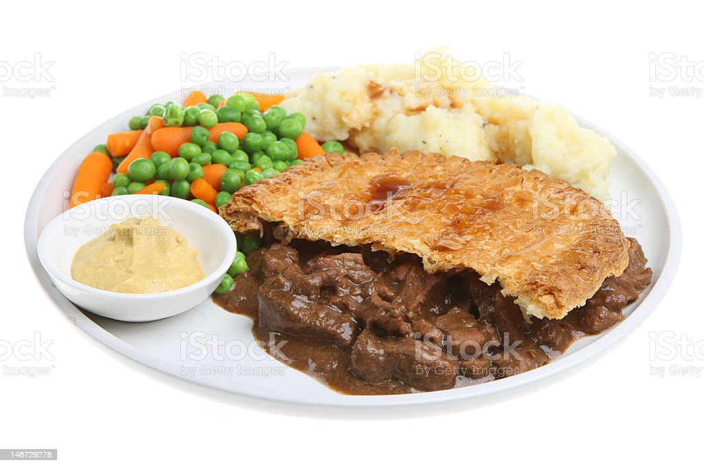 Steak Pie with Mash and Vegetables royalty-free stock photo