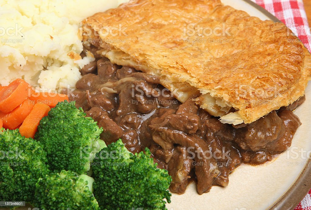 Steak Pie with Vegetables stock photo