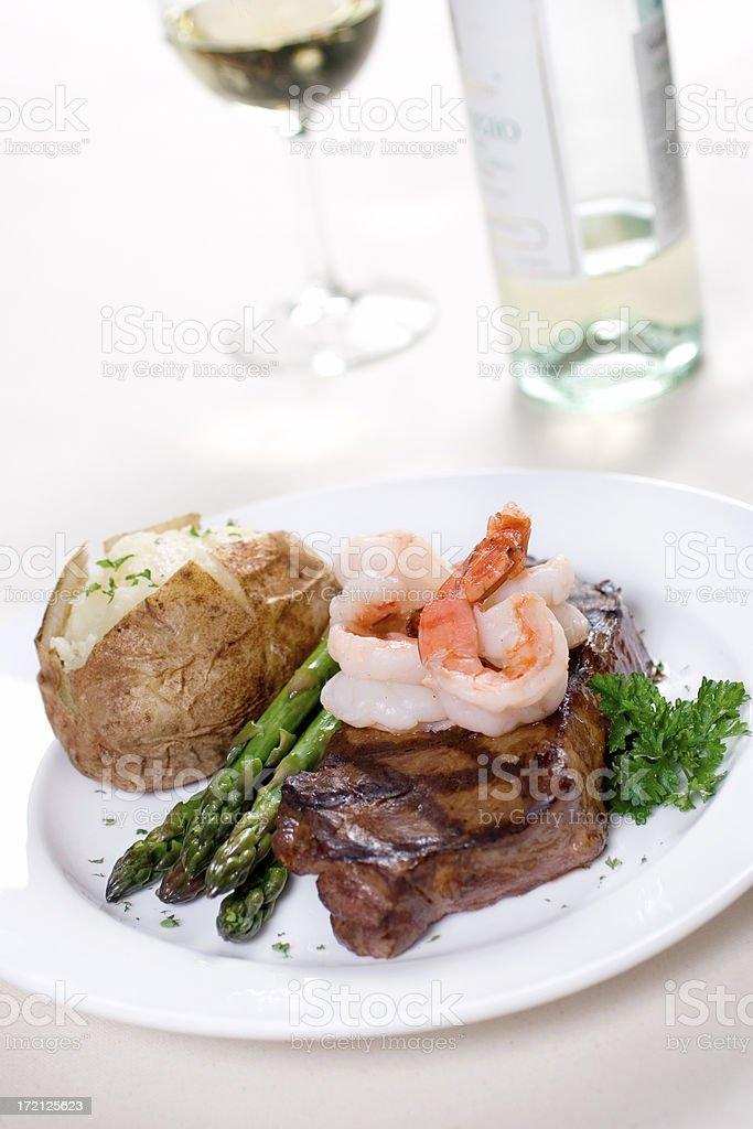 Steak & Prawns royalty-free stock photo