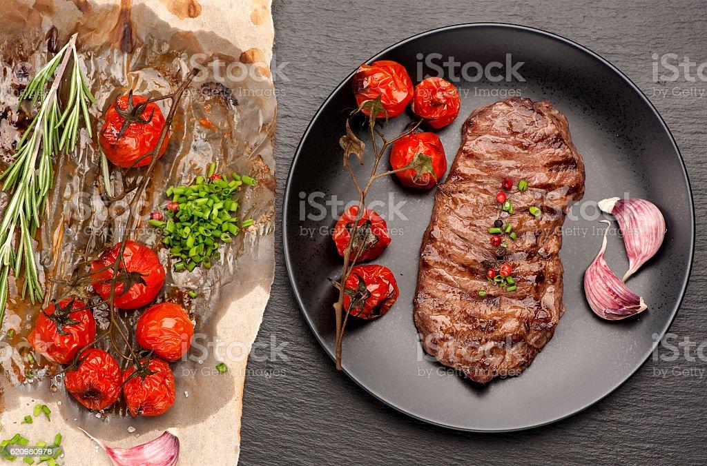 steak Ribeye entrecote roasted with rosemary and garlic stock photo