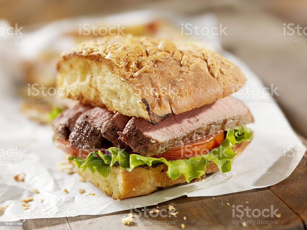 Steak Sandwich with French Fries royalty-free stock photo