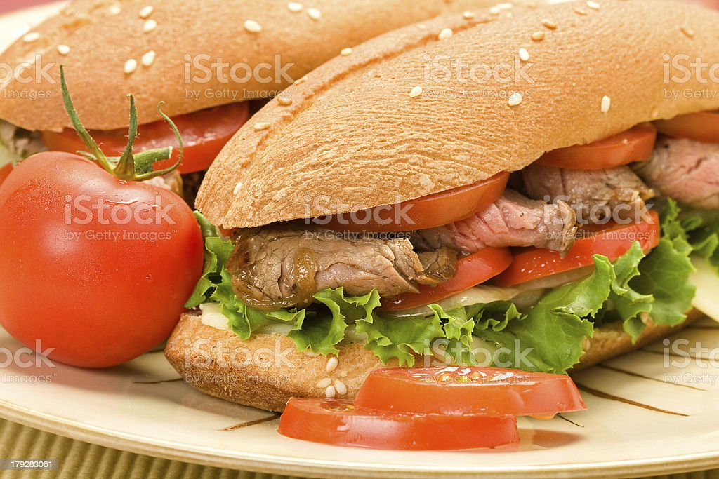 Steak Sandwiches on Plate royalty-free stock photo