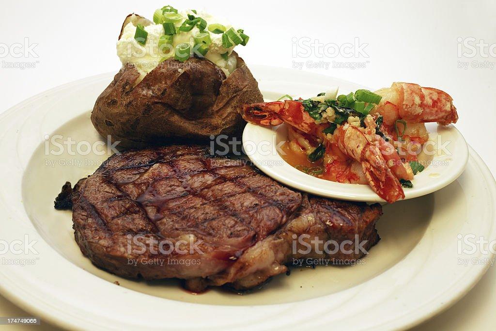 Steak & Scampi royalty-free stock photo