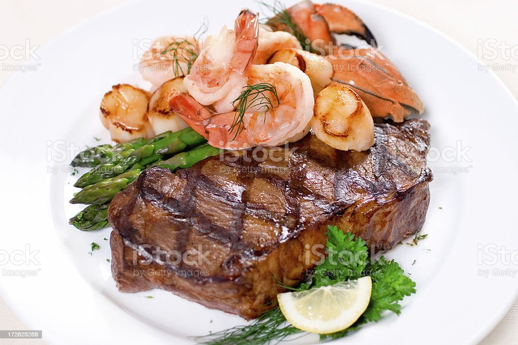 Steak & Seafood Plate stock photo