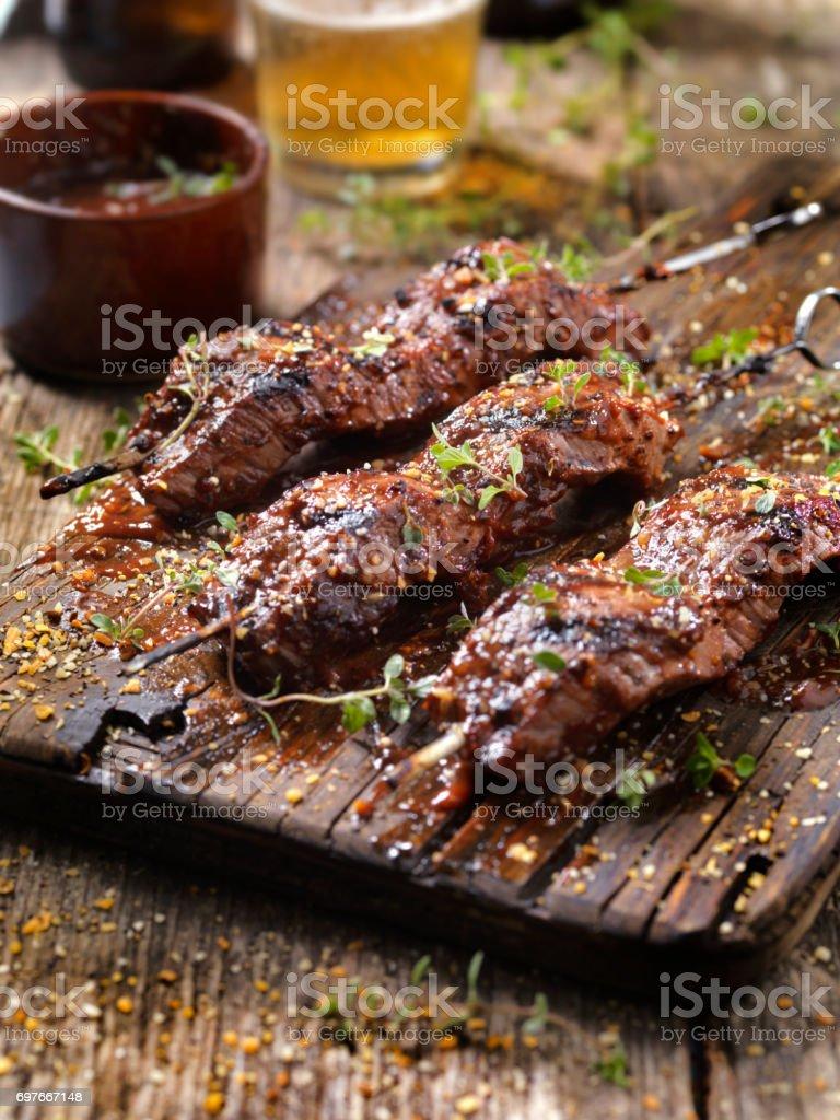 BBQ Steak Skewers stock photo