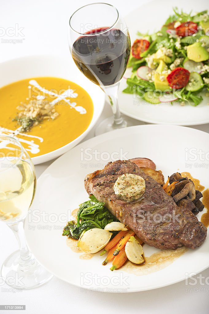 Steak Soup and Salad stock photo