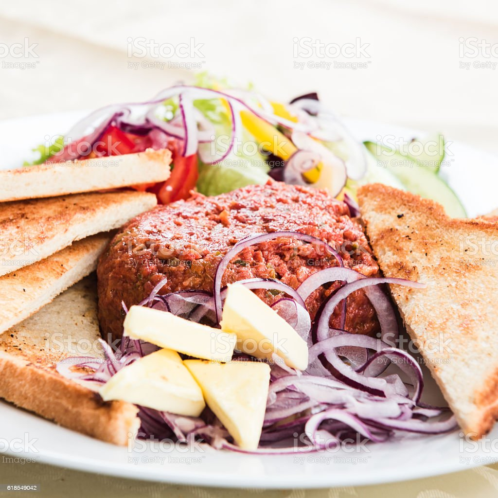 Steak Tartare, Deutsch-Wagram, Niederösterreich, Austria - October 10, 2016 stock photo