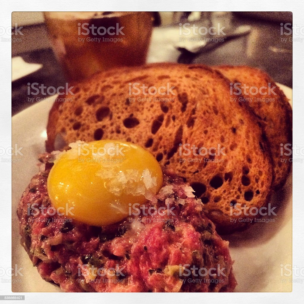 Steak Tartare with Egg stock photo
