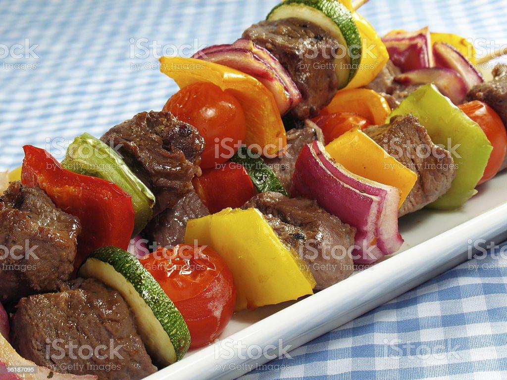 Steak & Vegetable Kebabs royalty-free stock photo