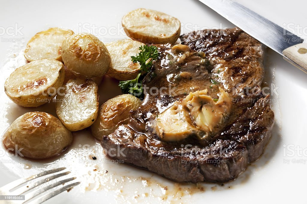 Steak with Anchovy Butter stock photo