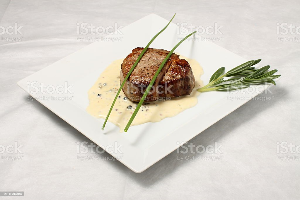 Steak with dressing stock photo