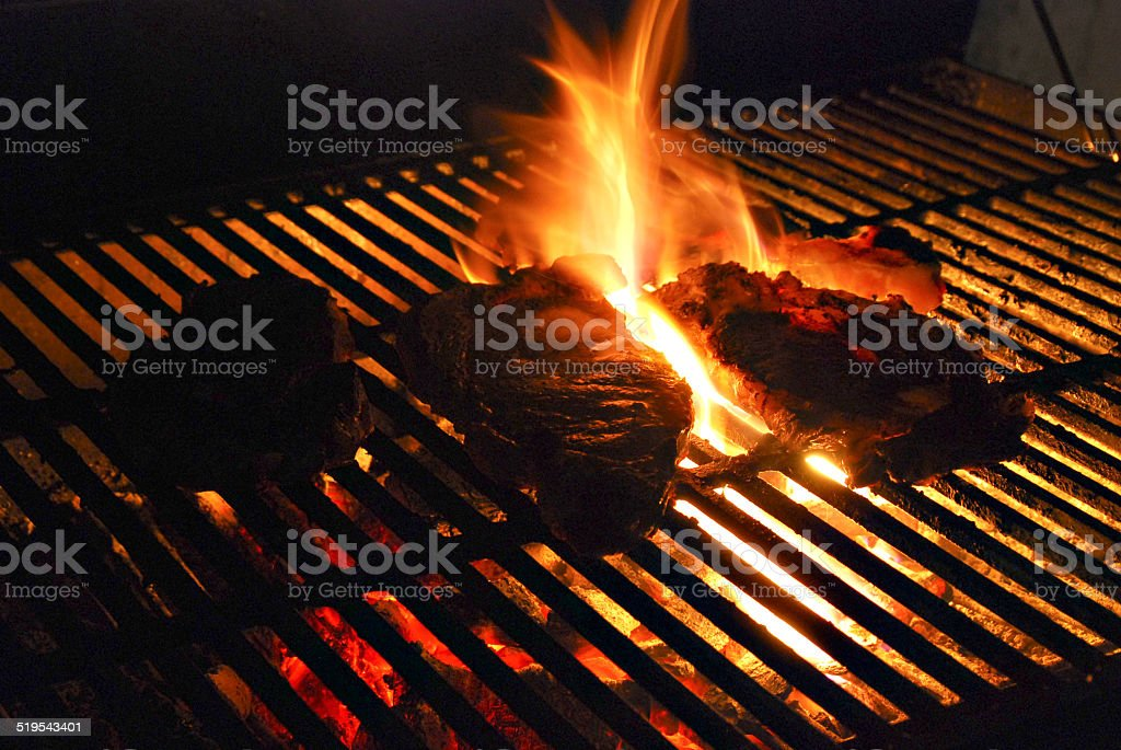 steak with flame stock photo