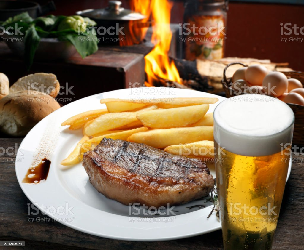 Steak with fries stock photo