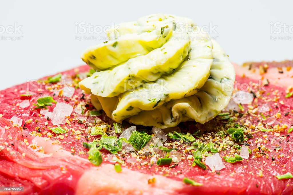 steak with herb butter stock photo