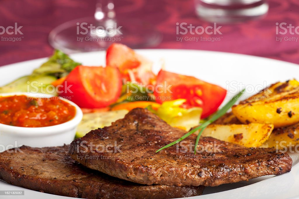 steak with ketchup royalty-free stock photo