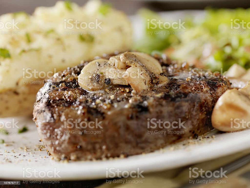 Steak with Mushrooms and a Baked Potato royalty-free stock photo