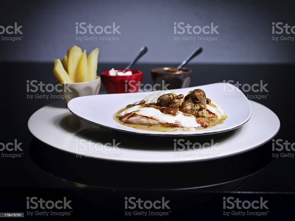 Steak with mushrooms royalty-free stock photo
