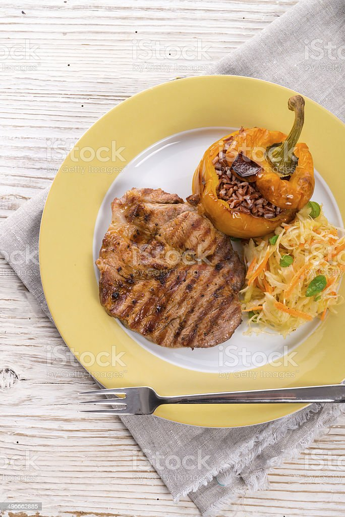 Steak with rice stuffed peppers royalty-free stock photo